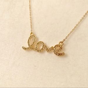"Jewelry - NWT ""Love"" Necklace In Gold Color Setting w/Stones"